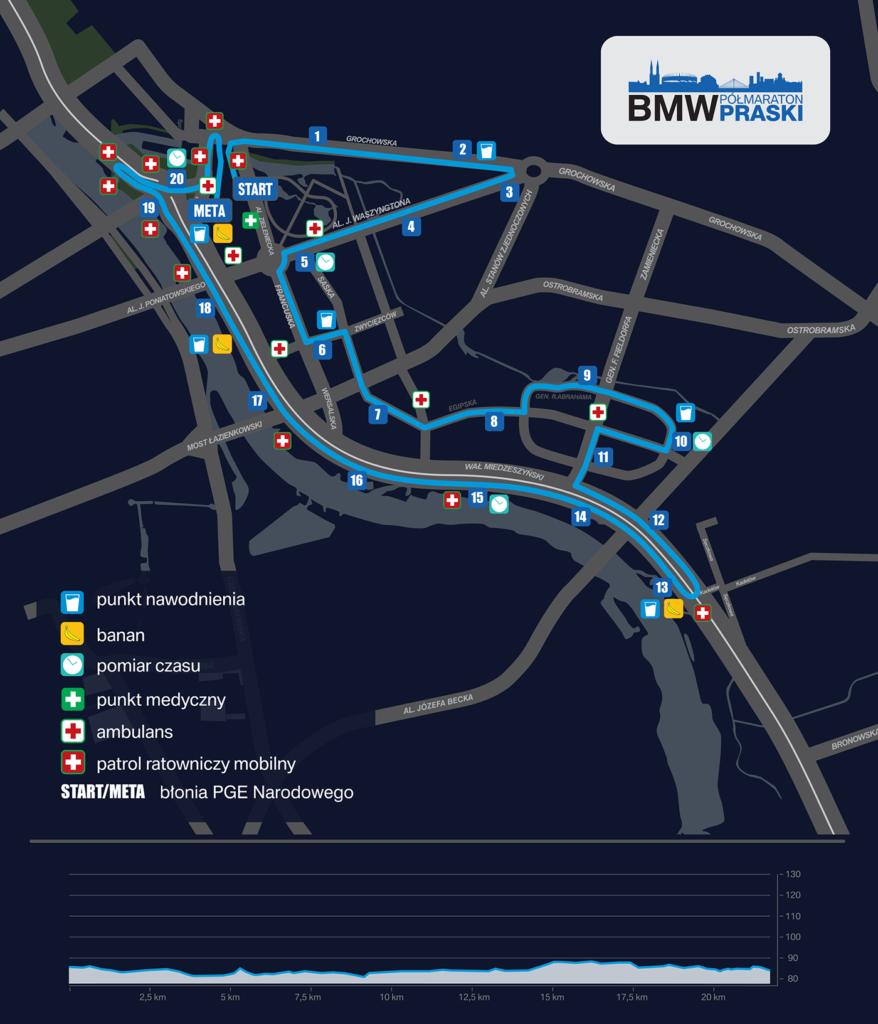Trasa biegu BMW Półmaraton Praski 2017