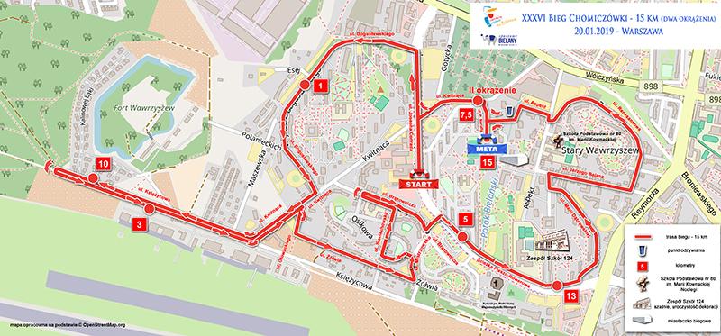 mapa Chomiczowka 15km