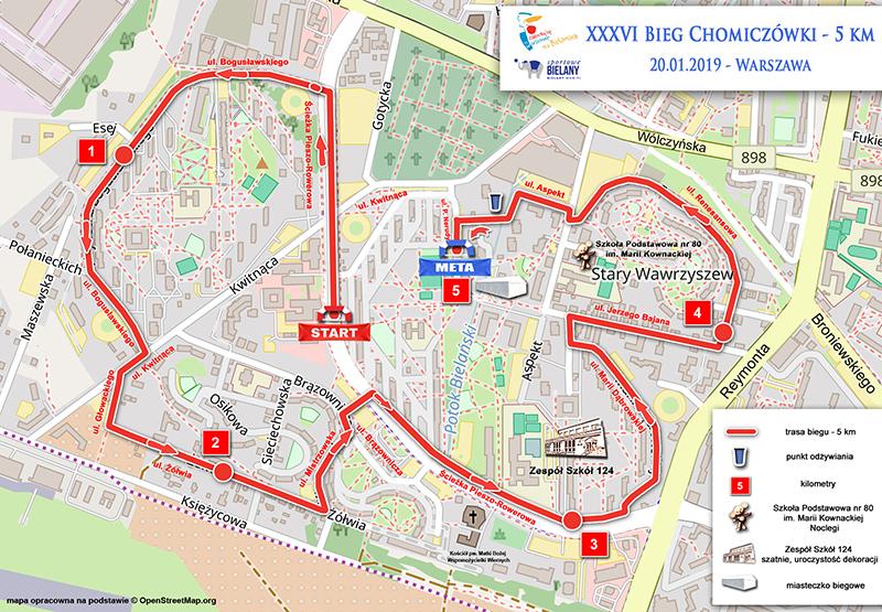 mapa Chomiczowka 5km