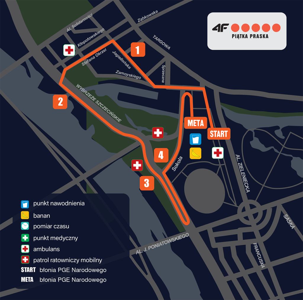 trasa biegu 4f Piątka Praska