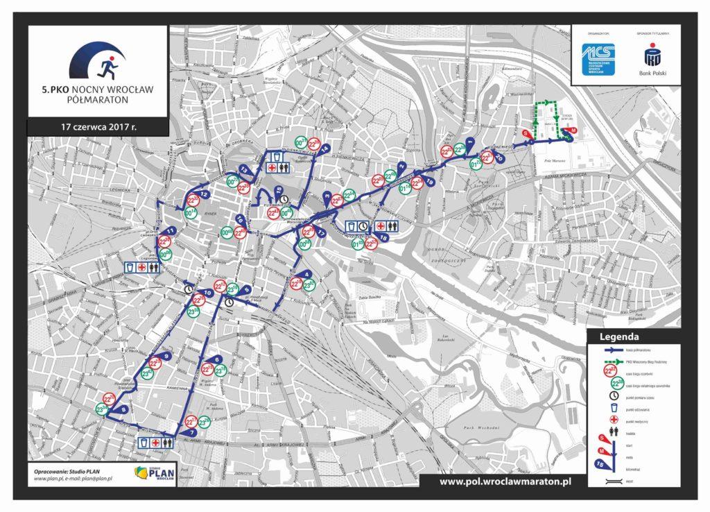 Mapa trasy Nocny Półmaraton Wrocław